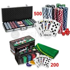 PROFESSIONAL 200/300/500 PIECE TEXAS HOLD'EM POKER CASINO GAME CHIPS SET IN CASE