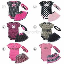 NEW Baby Girl 3pc set Romper + Dress + Headband Size 00, 0, 1, 2 Outfit Clothes