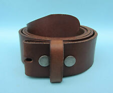 Snap on Belt Real Hide Leather Mid-Brown