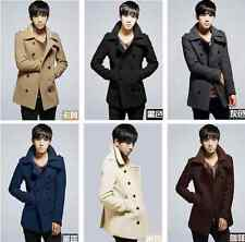 New Double-breasted Men's Slim Fit Trench Coat Winter Jacket Outerwear Overcoat