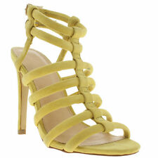 SCHUH WOMENS YELLOW SUEDE HIGH HEELS CAGED SANDALS SHOES