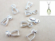 20-100PC L Bale Pinch Clasp 925 Sterling silver Findings Bail Connector Pendants