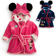 Boys Girls Mickey/Minnie Mouse Hooded Bath Robe Dressing Gown with Ears 1-6 yrs