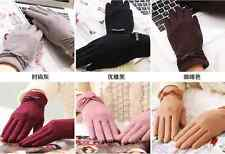 Women Ladies Gloves Winter Warm Cashmere Wool Mittens Lace Bowknot Goloves