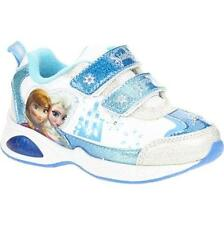 Disney Frozen ELSA ANNA Athletic Tennis Shoes with LIGHT ON Girls WHITE/BLUE-New