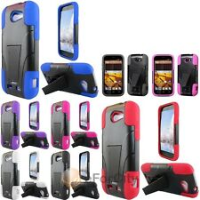 Case For ZTE Warp Sync N9515 PC+Silicon Hybrid Cover w/ KickStand HYB