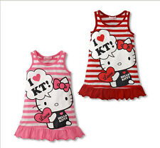 Baby Girls  Kids Cartoon Tops Clothes Sleeveless vest Party Dress 1-6Y