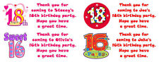 14 Personalised Stickers for birthday party bags/cake labels for special ages