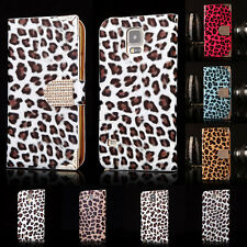For Samsung iPhone Leopard Luxury Bling Leather Wallet Magnetic Flip Case Cover