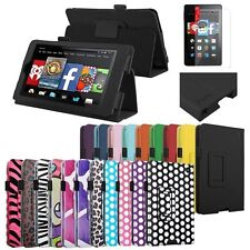 For NEW 2014 Amazon Kindle Fire HD 6 tablet Folio PU Leather Case Cover Stand