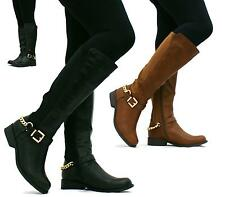 LADIES WOMENS BLACK KNEE HIGH BOOTS BIKER RIDING WIDE CALF STRETCH SHOES SIZE