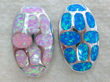 925 STERLING SILVER pink OR blue CR. OPAL inlay OVAL pendant