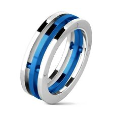Stainless Steel Men's Three Band Silver & Blue Ring Size 8-14