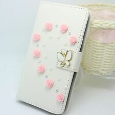 Pearl Flower Wallet Card Holder PU Leather Phone Flip Case Cover For Sony