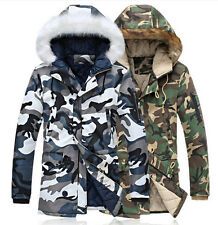 fashion mens camouflage long fur hooded coat winter warm military parka jacket