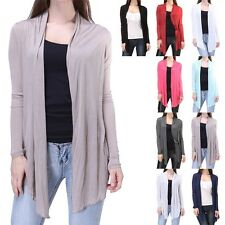 Women's Open Front Draped Long Sleeve Thin Cardigan Side Pockets Rayon S M L