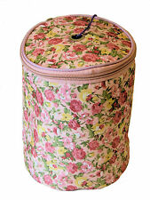 KNITTING STORAGE BALL OF WOOL YARN HOLDER PINK FLORAL DESIGN FABRIC