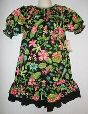 Lele Vintage Smocked dress tropical floral ruffle girls 5 6 8 NWT