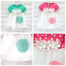1pc Girl Kids Baby Toddler Polka Dot Flower Dresses Tutu Clothing Outfit 0-24M