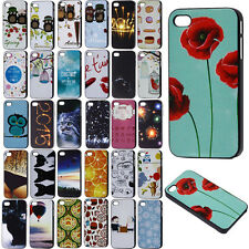 New Various Pattern Black Frame Skin Hard Back Case Cover for Apple iPhone 4 4S