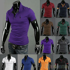 NEW MEN UNIQUE POLO SLIM FIT TEE FAWN EMBROIDERY TOPS SHORT SLEEVE SHIRT T-SHIRT