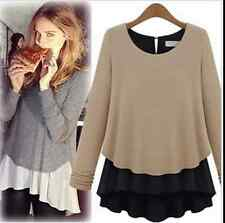Women's High Density Long Sleeve Crew Neck Knit Chiffon Primer T-Shirt Basic Top