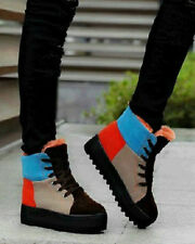 Winter Womens Fashion Fleece Warm Shoes Ankle Boots Lace Up Mix Colors Low Heel