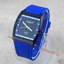 New Fashion Casual Tonneau Dial Silicone Men Jelly Analog Quartz Wrist Watches