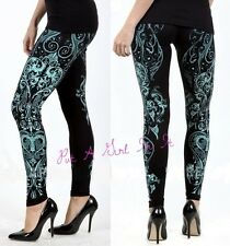 VOCAL CRYSTAL BLACK TURQUOISE BLUE WESTERN SCROLL BLING LEGGINGS PANTS S M L XL