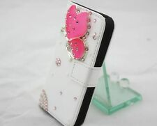 Bling Butterfly Wallet Card Holder Leather Phone Flip Case Cover For Sony