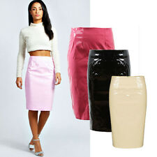 Sexy Celeb Women High Waist Knee Length Slim Skirt Leather Wet Look Pencil Skirt