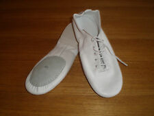NEW-WHITE LEATHER JAZZ DANCE SHOES - SPLIT SUEDE SOLE -Children to Adult Sizes