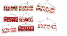 Red White Christmas Glitter Wooden Wall Door Sign Plaque Chic & Shabby Various