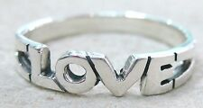 """REAL 925 STERLING SILVER plain """"LOVE"""" strong solid RING size K M O Q women girl"""