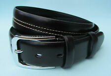 Mens Dress Black Brown Real Leather Stitch Pattern Belt