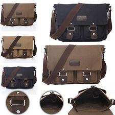 "Men's Vintage Canvas School Satchel Shoulder Messenger Bag 11"" Small Laptop Bag"