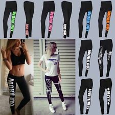 New Womens Gym Yoga Running Pants Skinny Slogan Leggings Sports Trousers Bottoms