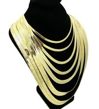 "Mens Herringbone Chain 14k Gold Plated 4mm to14mm wide 18"" 20"" 24"" 30"" Necklace"