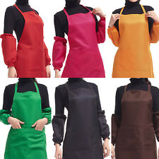Plain Apron With Two Front Pocket Chefs Butchers Kitchen Cooking Craft Baking UK