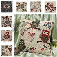 Owl Linen Cotton Square Throw Pillow Cushion Cover Case Home Sofa Car Decor Gift