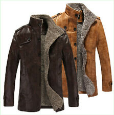 New Mens Casual Pu Leather Winter Lining Slim Fit Single-breasted Coat Jacket