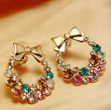Creative Fashion Lady Elegant Crystal Earrings Rhinestone Ear Stud Earrings Girl