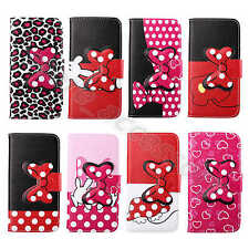 For Multi Cellphones Bowknot Cartoon Lovely Case Card Wallet Stand Leather Cover
