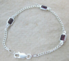 MADE IN ITALY 925 STERLING SILVER rectangle PURPLE cz13 .5 to 24cm BRACELET GIRL