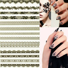 Black White 3D Lace Design Manicure Tips Nail Art Sticker Decal DIY Decoration