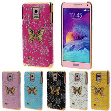 Bling Leather Butterfly Hard Case Skin Cover For Samsung Galaxy Note 4 Pop