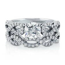 BERRICLE Sterling Silver Round CZ Solitaire Woven Engagement Wedding Ring Set