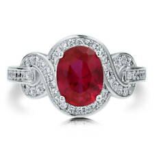 BERRICLE Sterling Silver Oval Simulated Ruby CZ Solitaire Woven Right Hand Ring