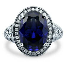 Silver Oval Simulated Sapphire CZ Halo Art Deco Right Hand Cocktail Ring