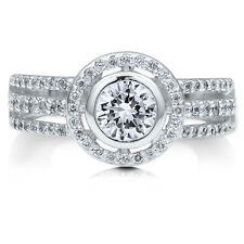 BERRICLE Sterling Silver Round Cut CZ Halo Engagement Ring 1.24 Carat